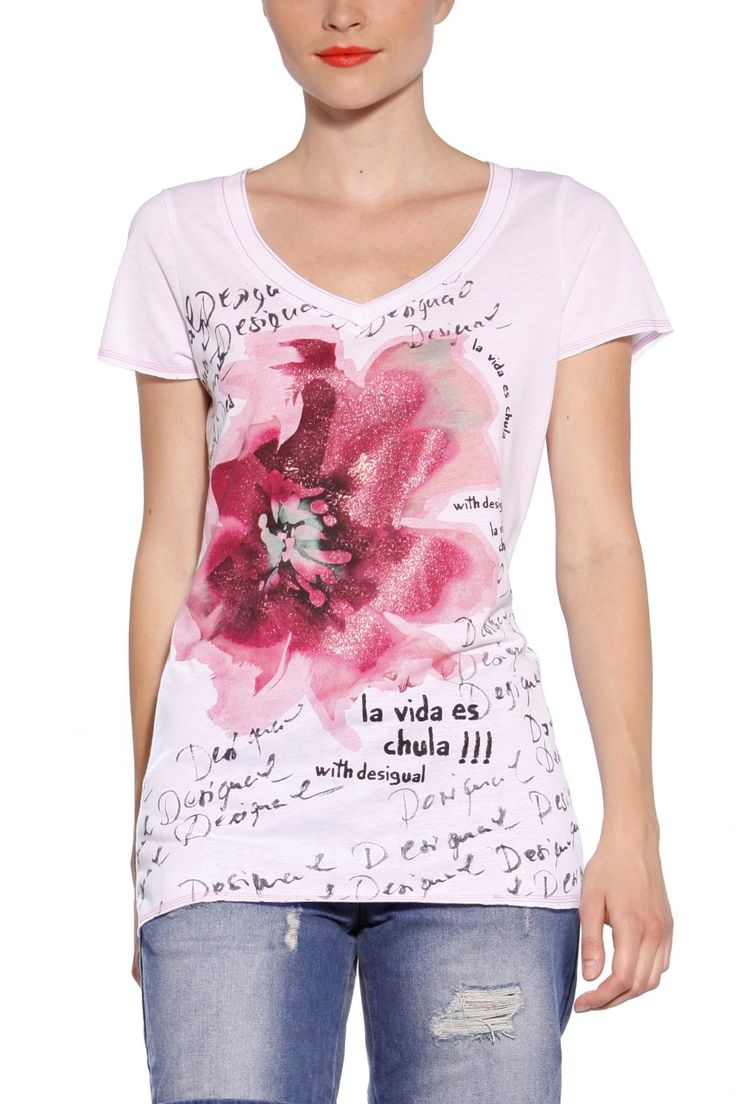 Amazon.com: T-shirt Desigual Neus Couleurs Rose Clair S To 3xl S: Clothing