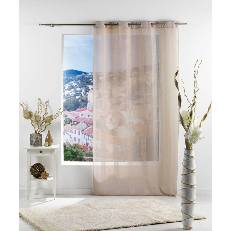 evideco solid striped sheer curtain panel salina 55 x 95 beige