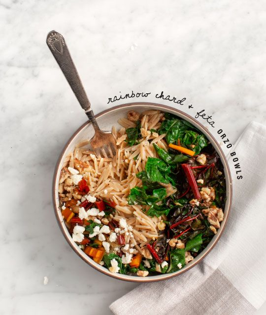 Rainbow Chard and Feta Orzo Bowls #weeknight #dinner