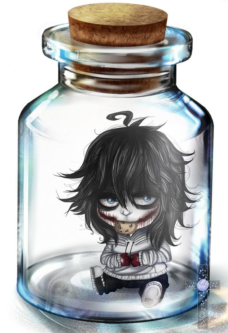 Chibi Jeff the Killer in a bottle :)