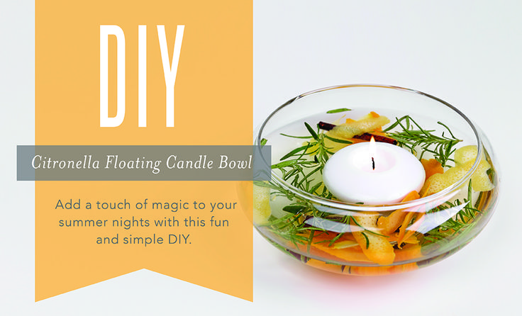 Classy doesn't need to be complicated. This DIY floating candle bowl project will instantly transform your everyday backyard party or BBQ into an enchanting, fragrance-filled summer celebration. All it takes are a few odds and ends you likely have just lying around the house! Make a collection of these bowls and arrange them around the patio, then sit back and enjoy the relaxing glow and the warm summer scent of Citronella and Lemon. Go to site to get recipe and watch video.