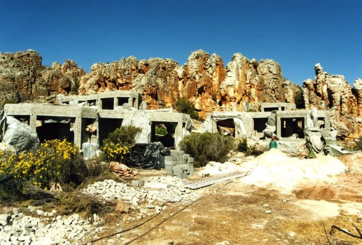 Base structures for building the artificial caves at Kagga Kamma game reserve.