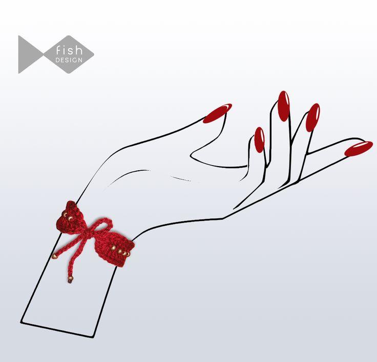 Hand Knit Bracelet, Beaded