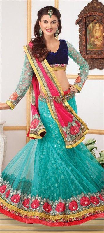 Mehendi & Sangeet Lehenga, Net, Stone, Border, Thread, Cut Dana, Blue Color Family #lehenga