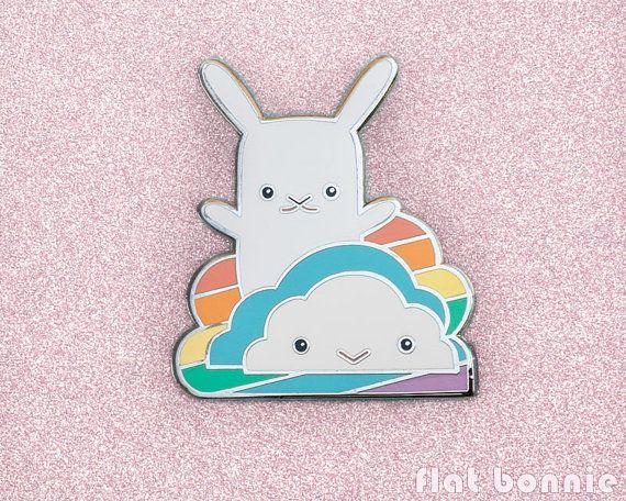Broche émail mignon épinglette de Kawaii lapin par FlatBonnie
