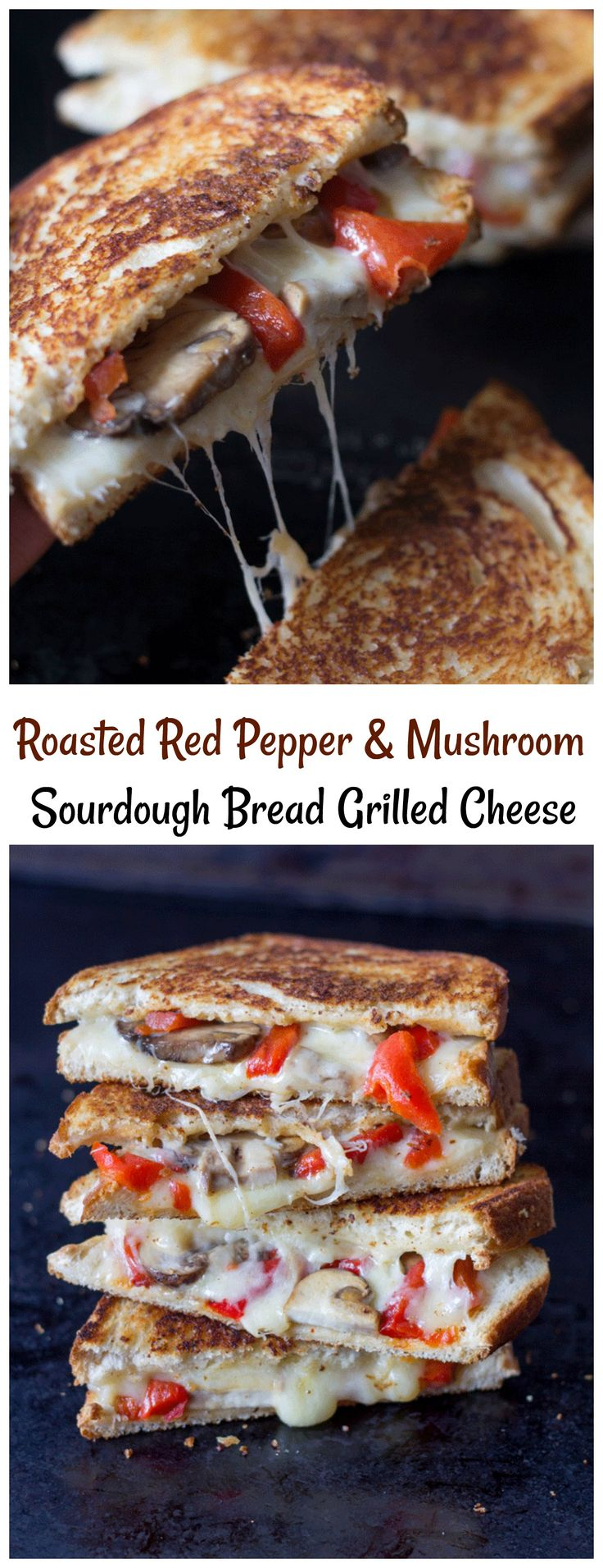 This Roasted Red Pepper Mushroom Grilled Cheese is on sourdough bread. Tastes just like a Panini but with out needing a Panini maker!
