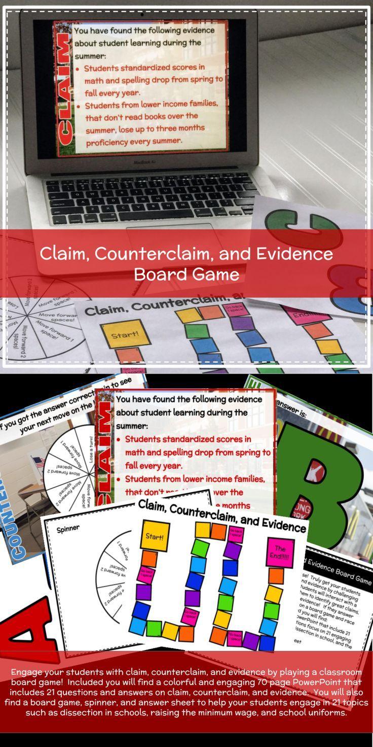 Claim, Counterclaim, and Evidence Boardgame Class
