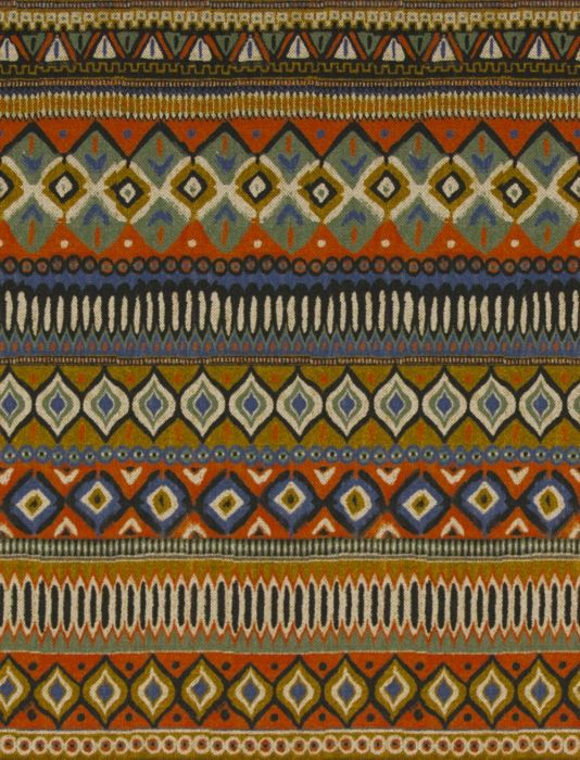 Maasai Fabric A vibrant tribal design of horizontal stripes printed in shades of brick red, green, blue and deep ochre.