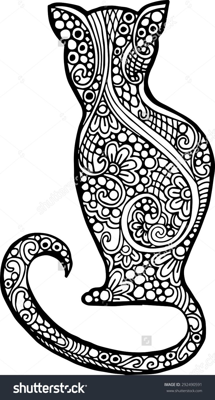 abstract doodle cat coloring page adult colouringcatsdogs zentangles pinterest doodles cat and adult coloring