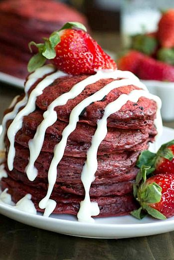 Red Velvet Pancakes with chocolate chips and a cream cheese glaze