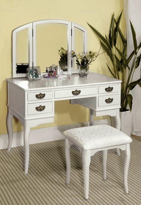 pc Ashland Chippendale style white finish wood bedroom make up