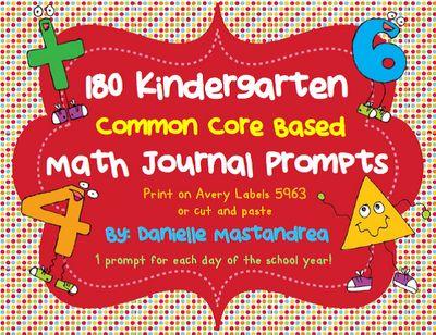 180 Kindergarten Math Journal Prompts- Common Core Based