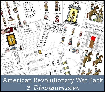 This American Revolutionary War Pack was made for kids 2 to 8. There are activities for the various ages. It covers some of the people from the Am