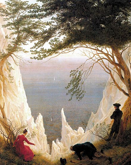 Chalk Cliffs on Rügen (1818). 90.5 × 71 cm. Museum Oskar Reinhart am Stadtgarten, Winterthur, Switzerland. Friedrich married Christiane Caroline Bommer in 1818, and on their honeymoon they visited relatives in Neubrandenburg and Greifswald. This painting celebrates the couple's union.[35]