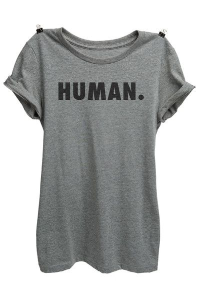 Be Human. Longer length construction provides the perfect length to contour the body. Printed on our slim fitting shirt. Super Soft Blend: 52% combed and ring-s