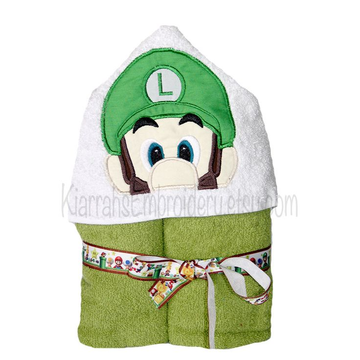 Hooded Towel, towel, childrens towel, gamer towel, boy hooded towel, personalised towel, green towel, luigi, bath towel, video game - pinned by pin4etsy.com