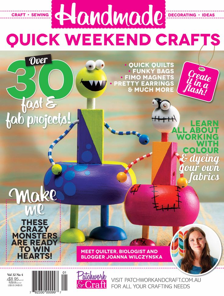Handmade Magazine - Volume 32 No. 4. Australia's top-selling monthly contemporary craft magazine is perfect for the time-starved craft enthusiast and those who like to sample a range of crafts. Including patchwork, sewing, knitting, stamping, scrapbooking and card-making - Handmade really has got it all!