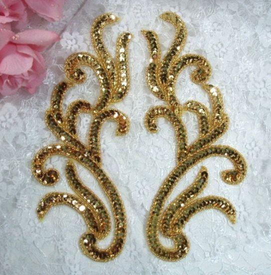 Paire de miroir or 0170 perles Sequin Appliques 9 par gloryshouse