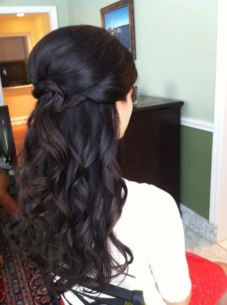 half-up - loose curls, volume at crown, more looseness at sides