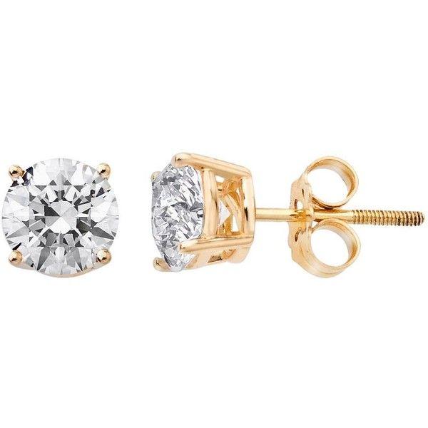14k Gold 3/4-ct. T.W. Round-Cut IGI Certified Diamond Stud Earrings... found on Polyvore