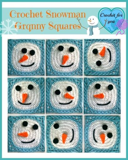 Crochet Snowman Granny Square - free pattern