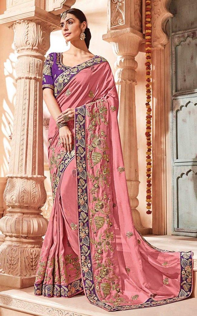 Art Silk Gajri Designer Saree