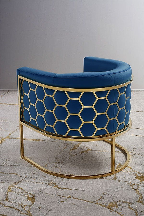 Alveare Tub Chair Brass Royal Blue Blue Dining Chair Luxury House Interior Design Metal Furniture Design