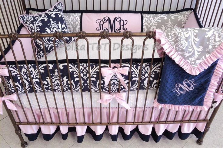 5 pc Rachel #Baby #Bedding – Polka Tot Designs #navy #grey #pink #damask #Nursery #Babygirl