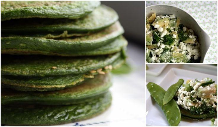Grøn proteinrig frokost med spinat-pandekager og hytteost-salat