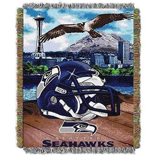 NFL Seahawks Throw Blanket 48 X 60 Football Themed Bedding Sports Patterned Team Logo Fan Merchandise Athletic Team Spirit Fan Grey Green Navy Blue Polyester