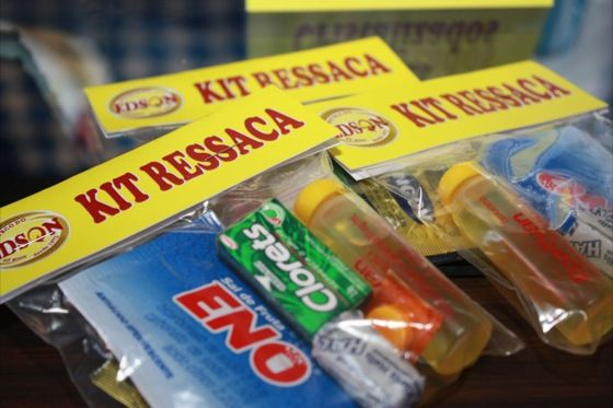 kit ressaca usar saco plastico com fita cetim