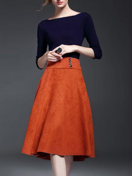 Orange Two Piece Elegant Paneled Bateau/boat Neck Midi Dress