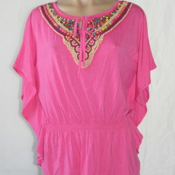 JOSEPH A EMBELLISHED NECKLINE HAND BEADED PINK TOP BLOUSE ( SIZE MEDIUM ) NWT .THIS TOP IS CASUAL MEDIUM PINK,IT'S MADE OF SPANDEX/RAYON, THE SLEEVE STYLE IS CALLED BATWING, DOLMAN IT'S CUTE AND COMFORTABLE. . JOSEPH A. Tops