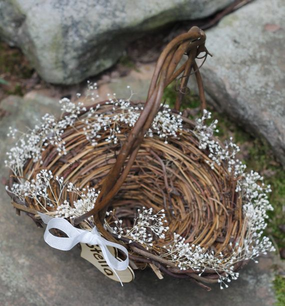 Flower Girl Basket Rustic Personalized Heart by MichelesCottage