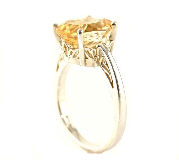 14K Citrine Ring Oval Flower Setting Custom Gemstone Ring Yellow White or Rose Gold November Birthstone Ring