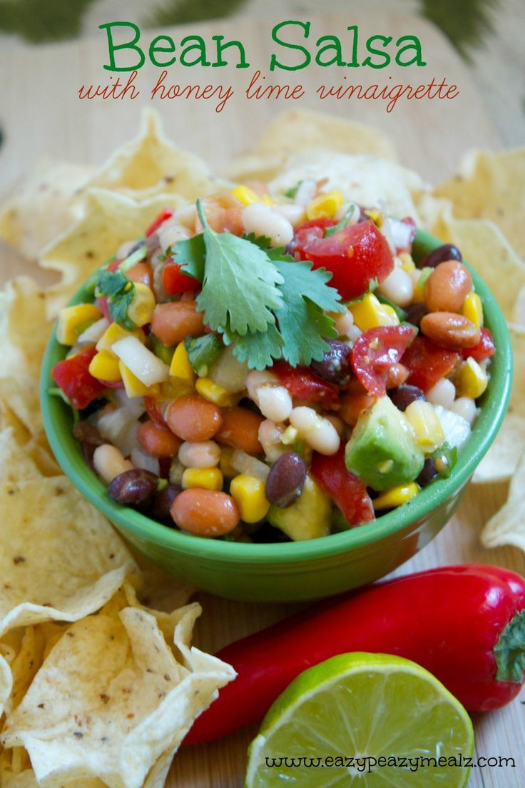 Bean Salsa with Honey Lime Vinaigrette: You are going to need a double batch. Any time I take this to a party it is the very FIRST thing gone! Plus it is healthy. - Eazy Peazy Mealz