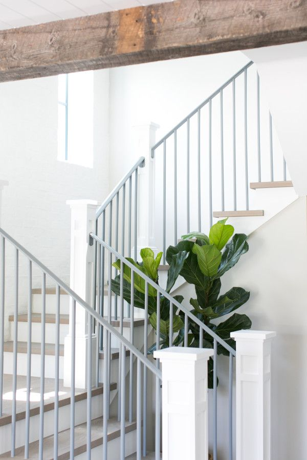 Metal Railing With Raw Wood Stairs