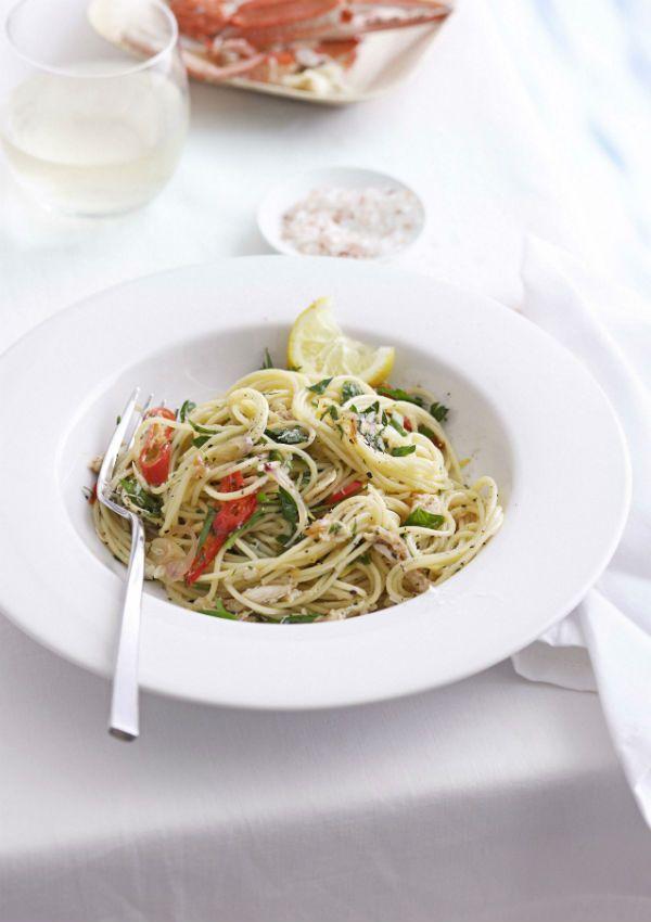 spaghettini with crab, lemon and chilli