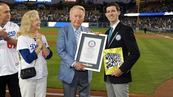 Los Angeles Dodgers broadcaster Vin Scully scores record for career longevity | Guinness World Records | September 24, 2015