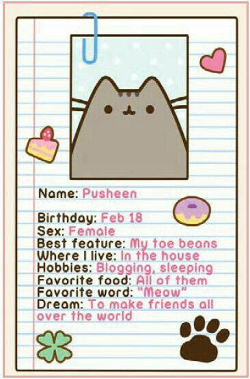 I have a Facebook account. And i see this cat all of my time. But now, i have this cats informations! #pusheen