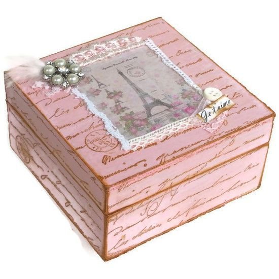 pink shabby chic things keepsake box pink shabby chic jewelry box by blissfulboxes on etsy. Black Bedroom Furniture Sets. Home Design Ideas