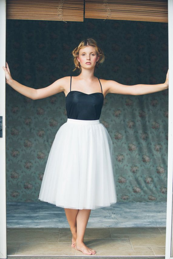 Women's ivory knee length tulle skirt / adult by Julbyjuliagasin