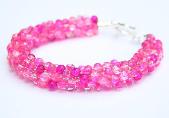 Pink Beaded Kumihimo Bracelet Beadweaving Beadwork by EmmaEmJD, £15.19