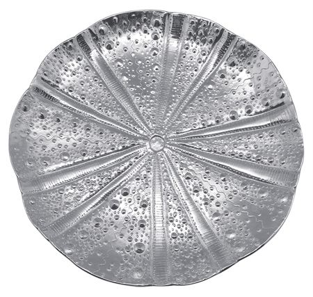 Matiposa Sea Urchin Platter. Beautifully handcrafted from 100% recycled aluminum with subtle textures translated from the surface of the sea urchin.