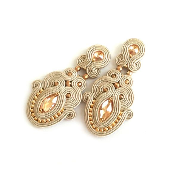 Soutache jewelry - Soutache clip-on earrings - Bridal clip-on earrings - Champagne earrings - Swarovski earrings - Boucles d'oreilles - gift