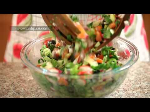 Quick video on Utube on how to make Fattoush Salad (Healthy Salad) recipe. Shows dressing and Tziki dill sauce that gets dabbled on too. Yum & HEALTHY!