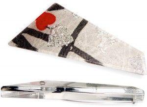 Brooch - Perspex (plexiglass), Silver leaf, black and white pattern  Dimensions (mm) – 85 (l) X 33 (w) X6 (h)  by heARTJÓIA