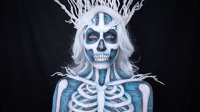 I paint myself and dance. It's what I do. Please tell me I'm not alone. I usually don't post my silly videos on here. But I'm gonna start. Cause why not? You've been warned. 😄❄️Thanks for all the love on this look! It was a fun one!  #iceicebaby #skullmakeup #ice #icemakeup #frozen #got #whitewalker #zombie #zombiemakeup #facepaint #bodypaint #makeupart #dupemag #bodyart #cosplay #skeletonqueen #amazingmakeupart #undiscovered_muas #art #painter #cospaint  #christmas #winter #gameofthrones