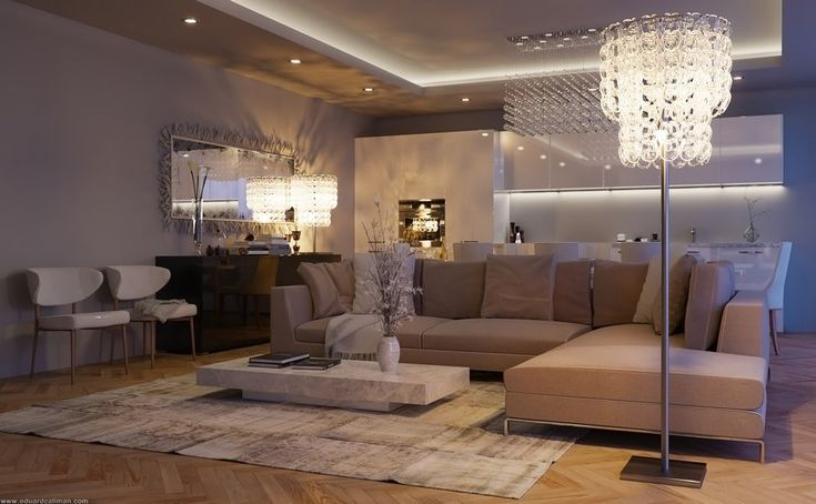 Living Room, Wonderful Living Room With Spacious Wall Mounted Giant Mirror Charming White Modern Chair Stunning Varnished Wooden Floor Amusi...