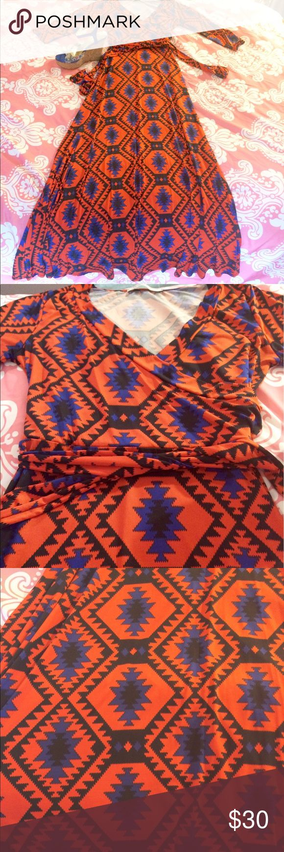 ☄️Bold and Bright Maxi Wrap dress💧🔥 Orange, blue and black maxi wrap dress☄️💧🌑 Great for any occasion and super COMFY!😋 slightly worn 😘 Open to offers🔥🔥 Dresses Maxi